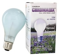 Chromalux A21 150W Frosted Light Bulb Full Spectrum Lamp