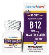 No Shot B12 Methylcobalamin 1000 mcg with B6 & Folic Acid 400 mcg