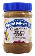 Cinnamon Raisin Swirl Peanut Butter Blended with Cinnamon and Raisins