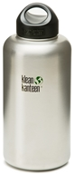 Klean Kanteen - Stainless Steel Water Bottle Wide with Stainless Loop Cap Brushed Stainless - 64 oz.