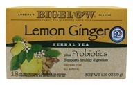 Bigelow Tea - Herb Plus Probiotics Lemon Ginger - 18 Tea Bags