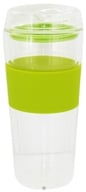 Double Wall Glass Tumbler and Lid with Green Silicone Grip