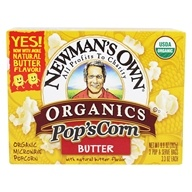 Pop's Corn Organic Microwave Popcorn Butter - 3 Pop & Serve Bags (3.3 oz)