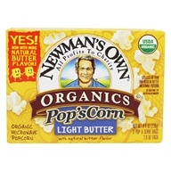 Pop's Corn Organic Microwave Popcorn Light Butter - 3 Pop & Serve Bags (2.8 oz)