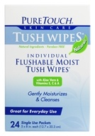 Individual Flushable Moist Tush Wipes Naturals