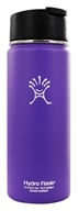Hydro Flask - Stainless Steel Water Bottle Vacuum Insulated Wide Mouth with Hydro Flip Acai Purple - 18 oz.