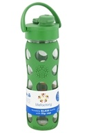 Glass Beverage Bottle With Silicone Sleeve and Flip Top Cap
