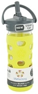 Lifefactory - Glass Beverage Bottle With Silicone Sleeve and Straw Cap Lemon - 12 oz.