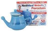 NasaFlo Neti-Pot Porcelain with 50 Premixed Packets