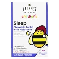 Zarbee's - Children's Sleep Melatonin Supplement Grape Flavor - 30 Chewable Tablets