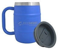Eco Vessel - Double Barrel Insulated Stainless Steel Coffee and Beer Mug with Lid Hudson Blue - 17 oz.
