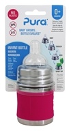 Pura - Stainless Steel Infant Bottle with Slow Flow Nipple Pretty Pink - 5 oz.
