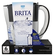 Brita - Space Saver Pitcher Water Filtration System Black - 6 Cup(s)
