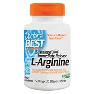 Doctor's Best - L-Arginine Sustained plus Immediate Release 500 mg. - 120 Tablets LUCKY PRICE