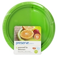 Reusable Recycled Plastic Plates Small 7 inch Apple Green