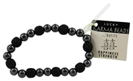 Karmalogy Lucky Karma Beads Bracelet Hematite Black Happiness Strength