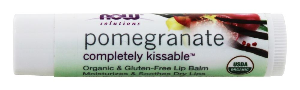 NOW Foods - Solutions Completely Kissable All Natural Lip Balm Pomegranate - 0.15 oz.