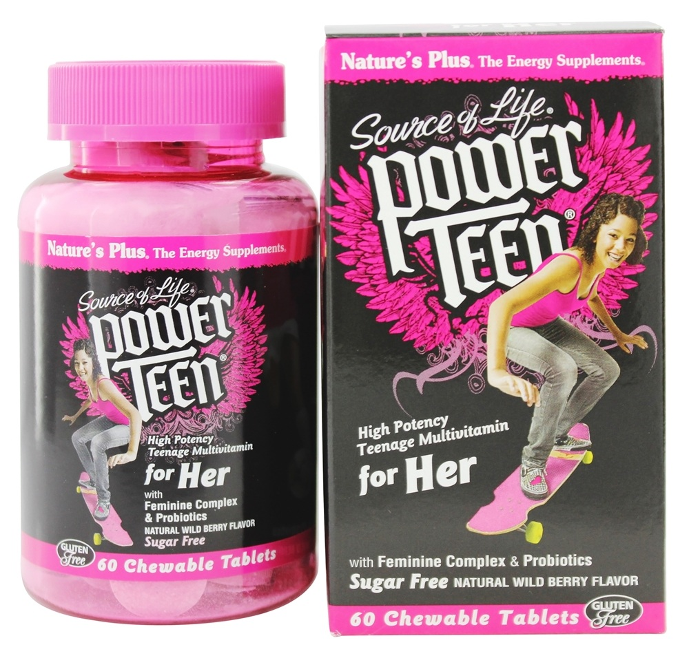 Nature's Plus - Source Of Life Power Teen For Her High Potency Multivitamin Natural Wild Berry Flavor - 60 Chewable Tablets