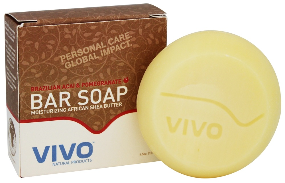 VIVO Natural Products - Moisturizing African Shea Butter Bar Soap Brazilian Acai & Pomegranate - 4.5 oz.