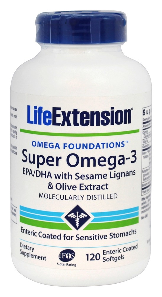 Life Extension - Super Omega-3 EPA/DHA with Sesame Lignans & Olive Extract - 120 Enteric Coated Softgels