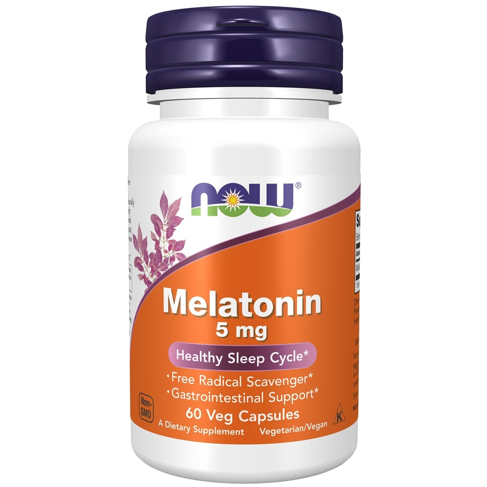 NOW Foods - Melatonin High Potency 5 mg. - 60 Vegetarian Capsules