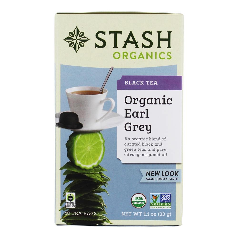 Stash Tea - Premium Organic Earl Grey Black & Green Tea - 18 Tea Bags