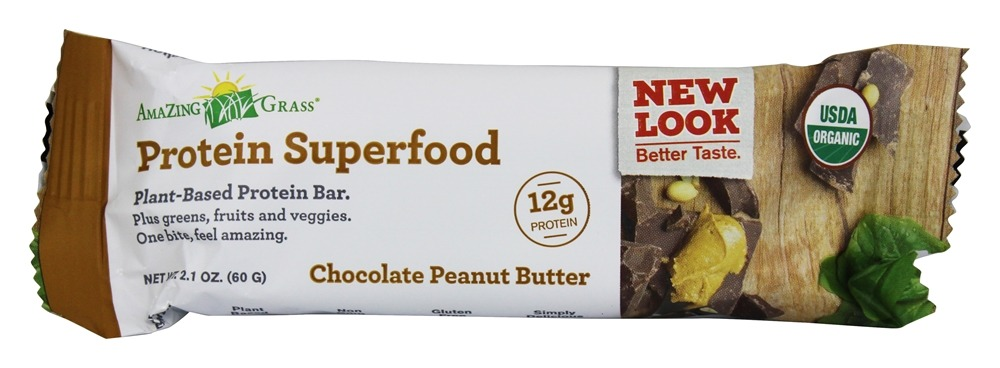 Amazing Grass - Green SuperFood Protein Bar Chocolate Peanut Butter - 2.2 oz.