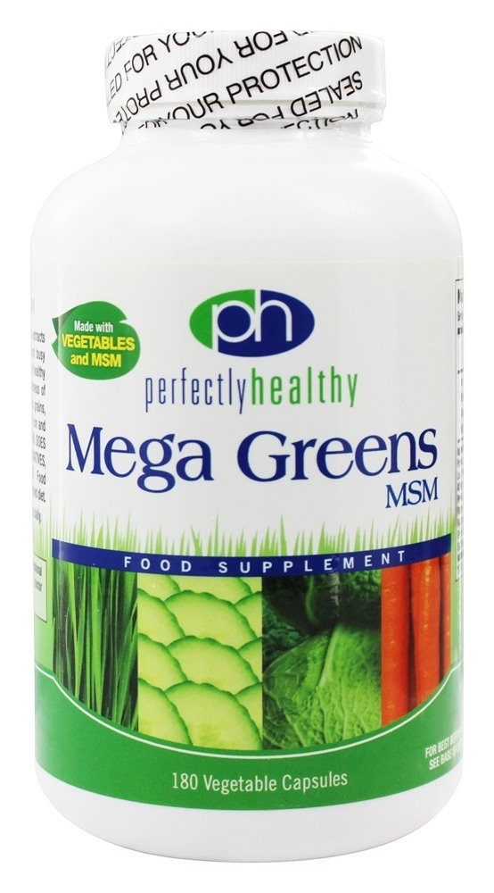 Perfectly Healthy - Mega Greens Plus MSM - 180 Vegetarian Capsules