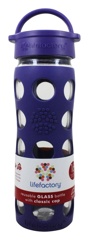 Lifefactory - Glass Beverage Bottle With Silicone Sleeve Royal Purple - 16 oz.