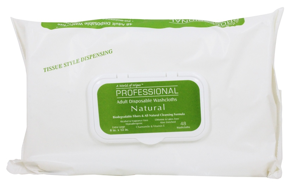 A World of Wipes - Professional Natural Adult Disposable Washcloths Extra Large 8 in. x 12 in. Fragrance Free - 48 Pack