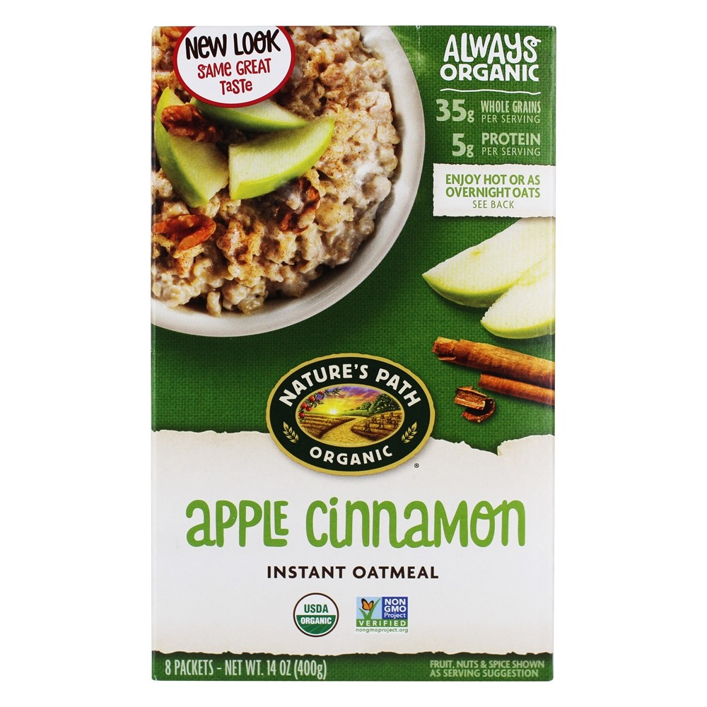 Nature's Path Organic - Instant Hot Oatmeal Apple Cinnamon 8 x 50g Packets - 14 oz.