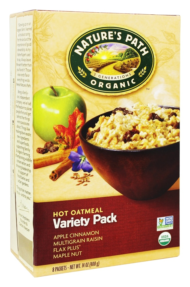 Nature's Path Organic - Instant Hot Oatmeal 8 x 50g Packets Variety Pack - 14 oz.