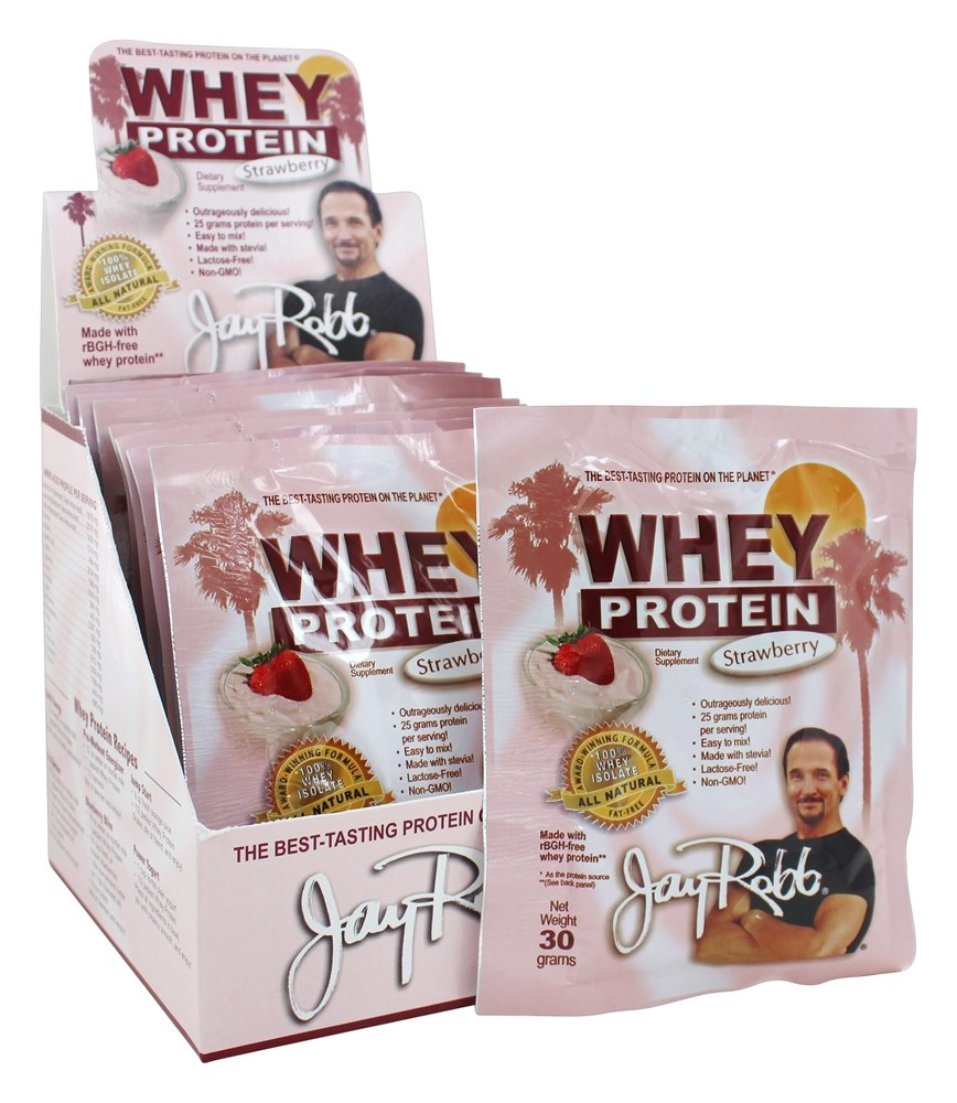 Jay Robb - Whey Protein Isolate Powder Strawberry - 12 Packet(s)