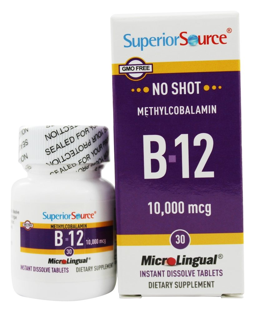 Superior Source - No Shot B12 Methylcobalamin Extra Strength Instant Dissolve 10000 mcg. - 30 Tablets