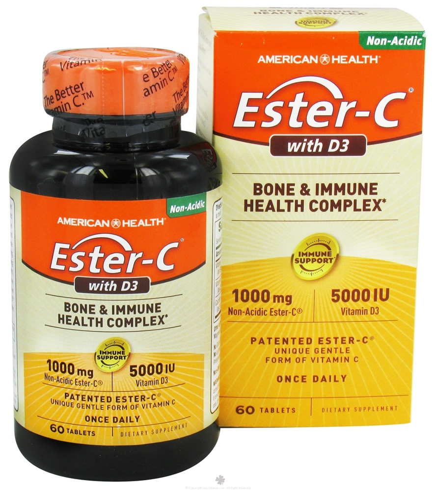American Health - Ester C With 5000 IU D3 1000 mg. - 60 Tablets