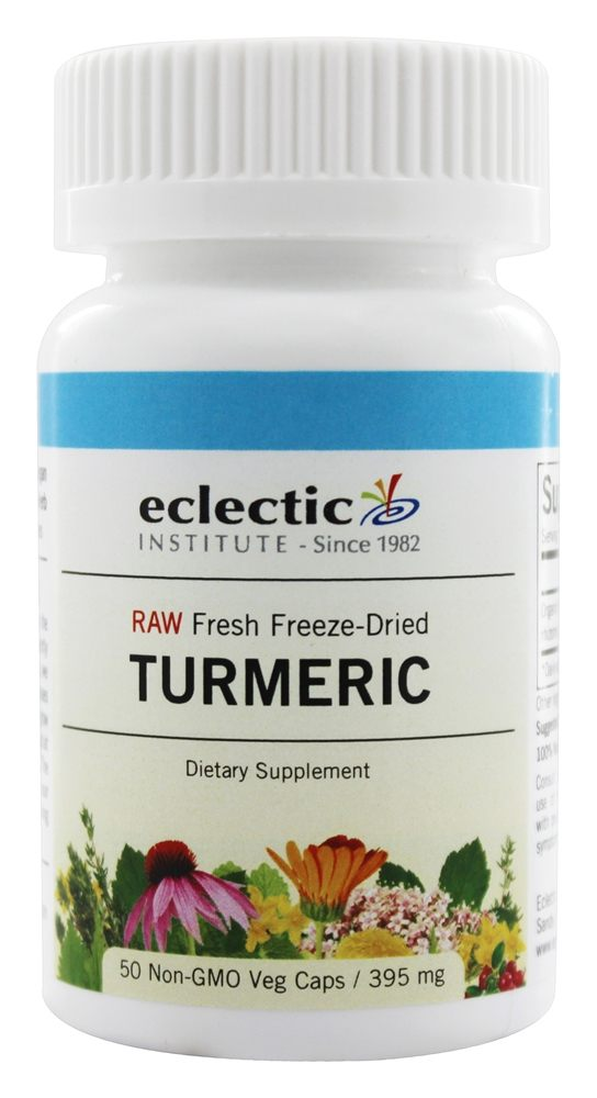 Eclectic Institute - Turmeric Root Fresh Raw Freeze-Dried 395 mg. - 50 Vegetarian Capsules