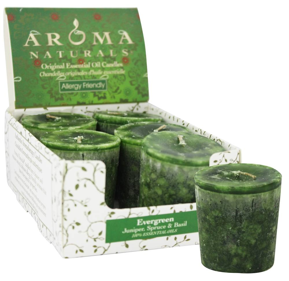 Aroma Naturals - Evergreen Holiday Naturally Blended Votive Eco-Candle Juniper, Spruce & Basil - 1 Count