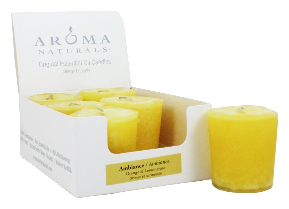 Aroma Naturals - Ambiance Naturally Blended Votive Eco-Candle Orange & Lemongrass - 1 Count