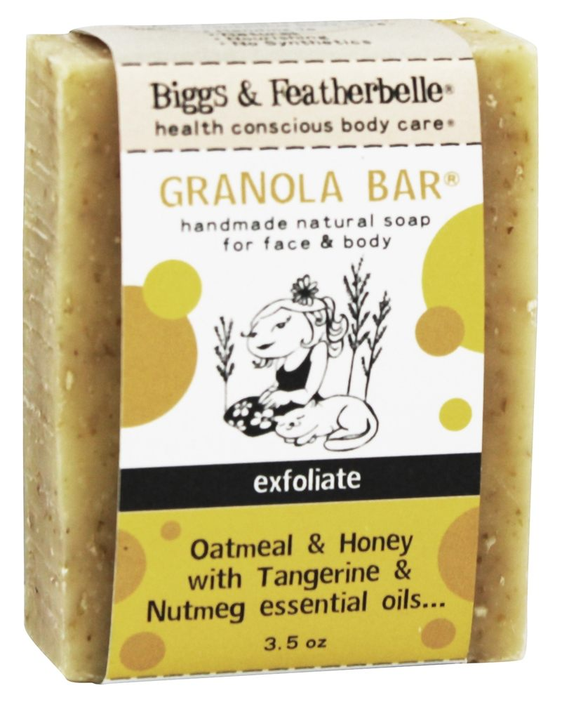 Biggs & Featherbelle - Granola Bar Handmade Natural Soap Oatmeal & Honey with Tangerine & Nutmeg Essential Oils - 3.5 oz.