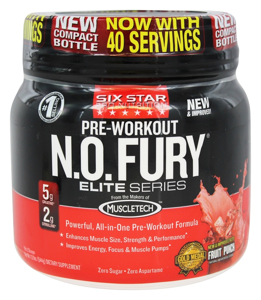 Six Star Pro Nutrition - Elite Series N.O. Fury Pre-Workout Fruit Punch - 1.2 lbs.