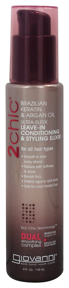 Giovanni - 2Chic Brazilian Keratin & Argan Oil Ultra-Sleek Leave-In Conditioning & Styling Elixir - 4 oz.