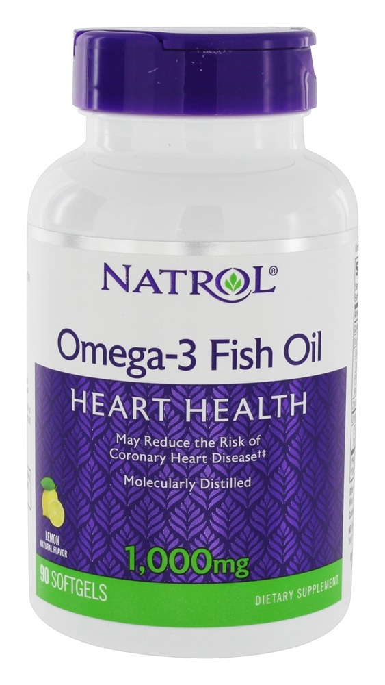 Natrol - Omega-3 Fish Oil Lemon Flavor 1000 mg. - 90 Softgels