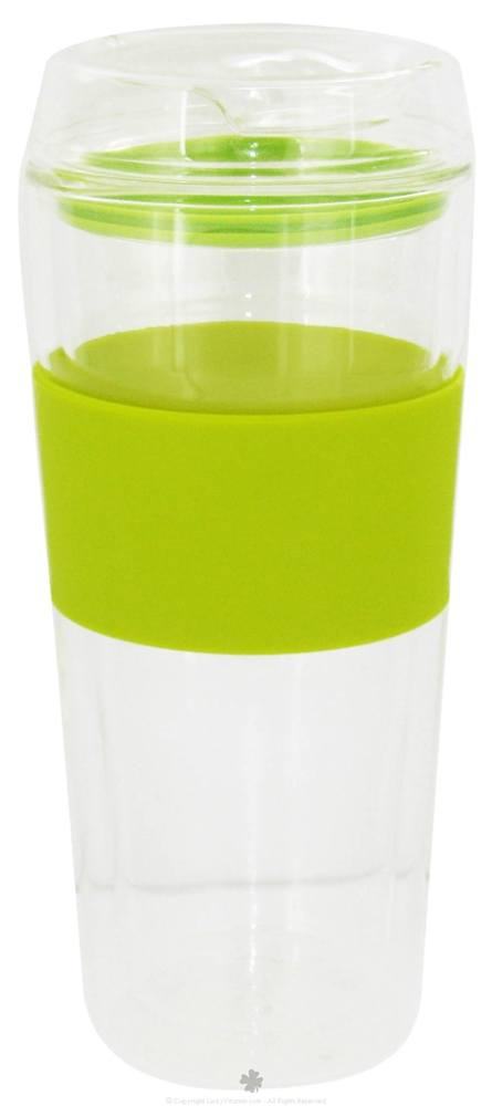 Takeya USA - Double Wall Glass Tumbler and Lid with Green Silicone Grip - 16 oz.