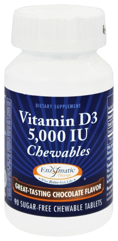 Enzymatic Therapy - Vitamin D3 Chocolate Flavor 5000 IU - 90 Chewable Tablets