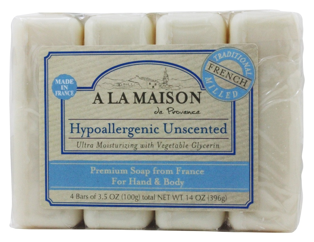 A La Maison - Traditional French Milled Bar Soap Value Pack Hypoallergenic Unscented - 4 x 3.5 oz. Bars