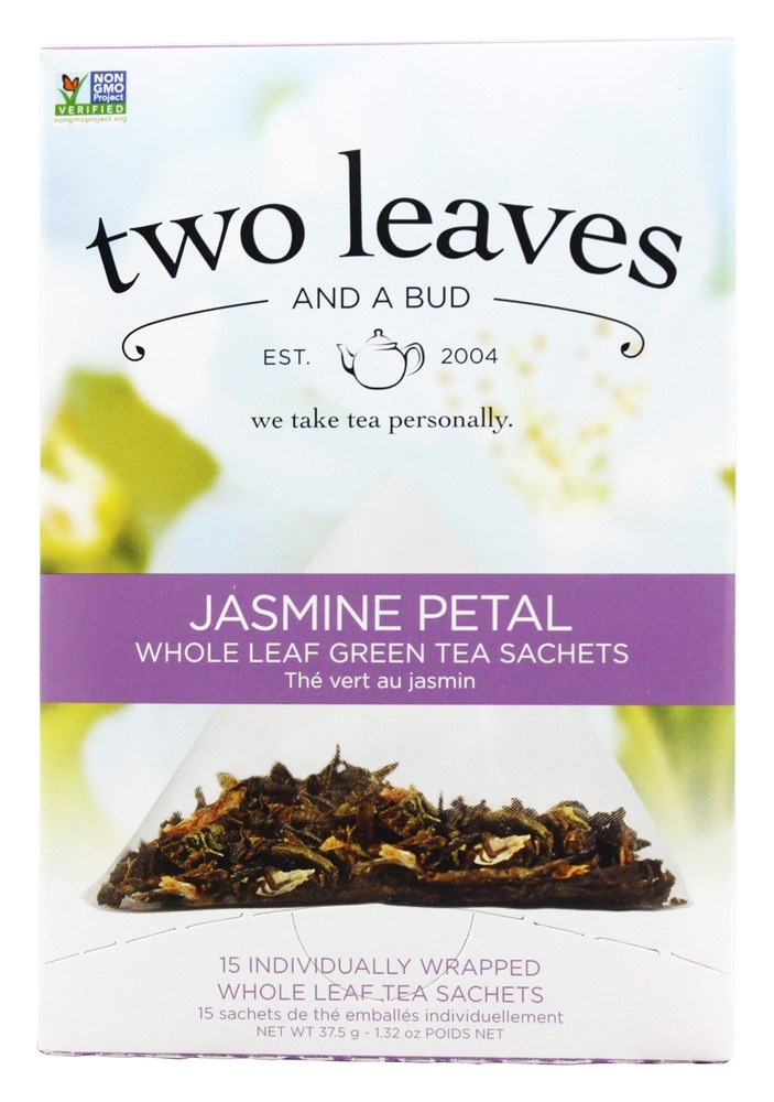 Two Leaves Tea Company - Green Tea Jasmine Petal - 15 Tea Bags Formerly Two Leaves and a Bud