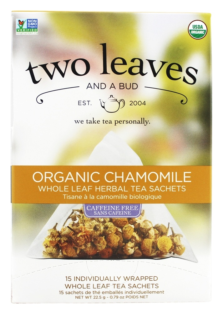 Two Leaves Tea Company - Herbal Tea Organic Chamomile - 15 Tea Bags Formerly Two Leaves and a Bud