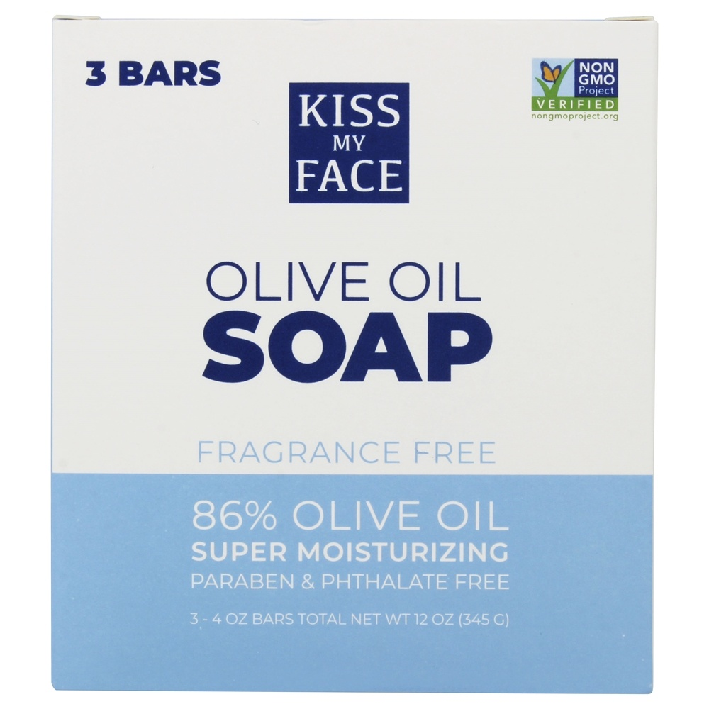 Kiss My Face - Pure Olive Oil Bar Soap Value Pack Fragrance Free - 3 x 4 oz. Bars