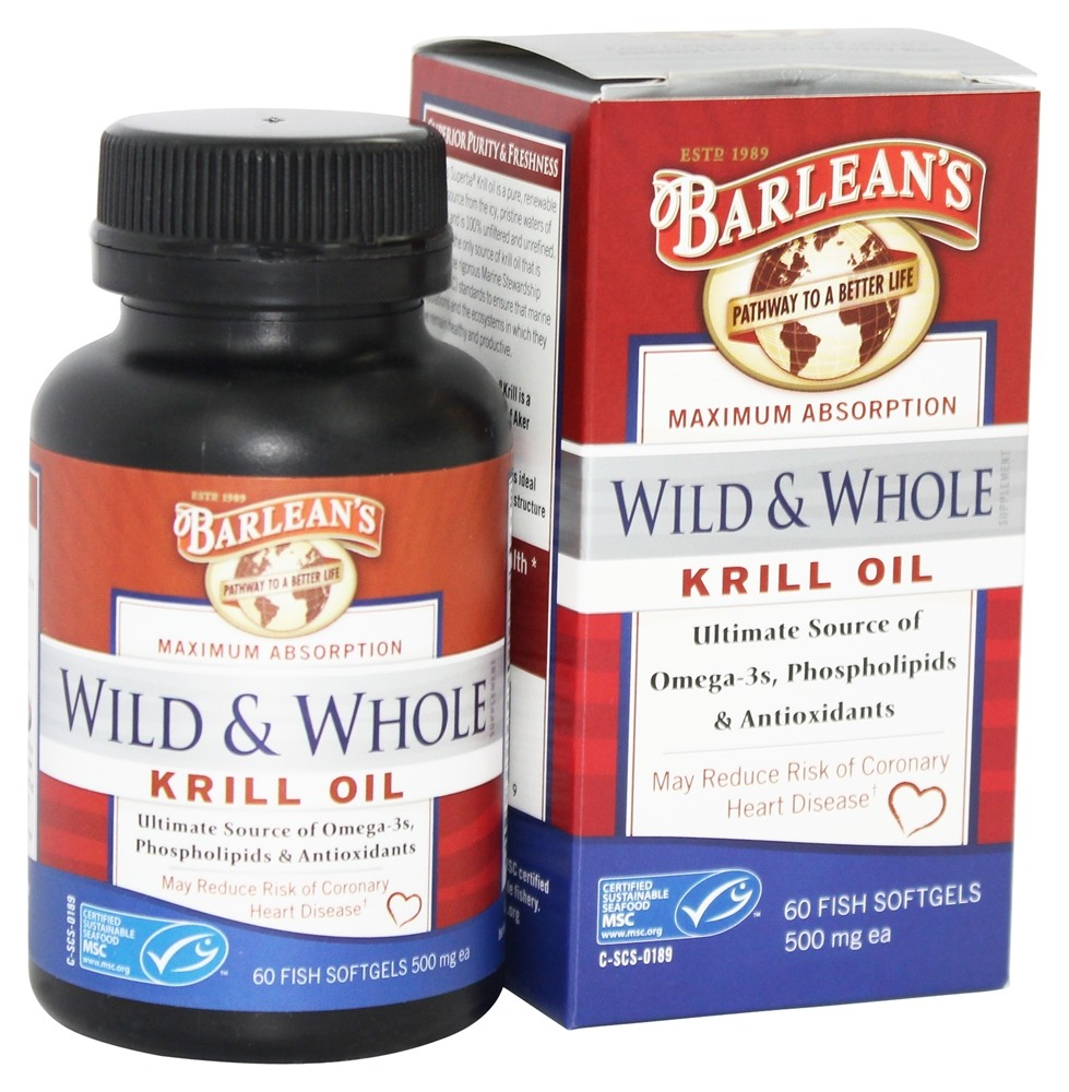 Barlean's - Wild and Whole Krill Oil 500 mg. - 60 Fish Softgel(s)