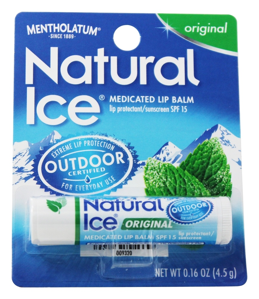 Mentholatum - Natural Ice Medicated Lip Protectant/Sunscreen Original Flavor 15 SPF - 0.16 oz.